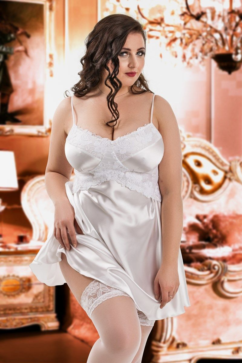 f9217d05d0967 Romantic White satin Plus size chemise with lace flower patterned bust a.  The perfect plus size chamise for a sexy and classy look.