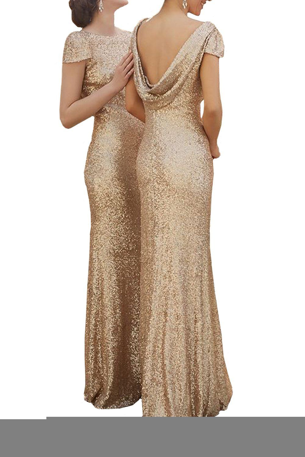 822708d4391b Sparkle Rose Gold Sequins Bridesmaid Dresses Modest Long Prom Evening Gowns:  Amazon Fashion