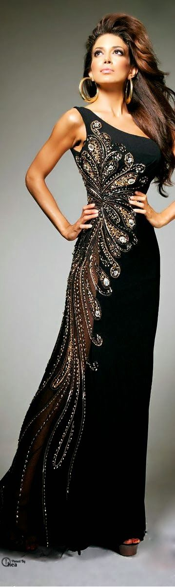 Not generally crazy about one shoulder gowns but the embellishment is fantastic. women fashion outfit clothing style apparel @roressclothes closet ideas