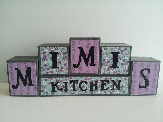 Mimi\'s Kitchen - Wood Block Sign - Purple and Teal - Kitchen Decor ...