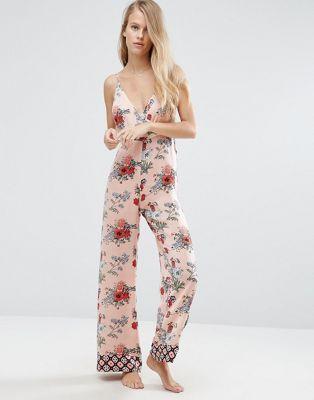 180956bb6e ASOS PREMIUM Mixed Floral   Tile Print Satin Jumpsuit