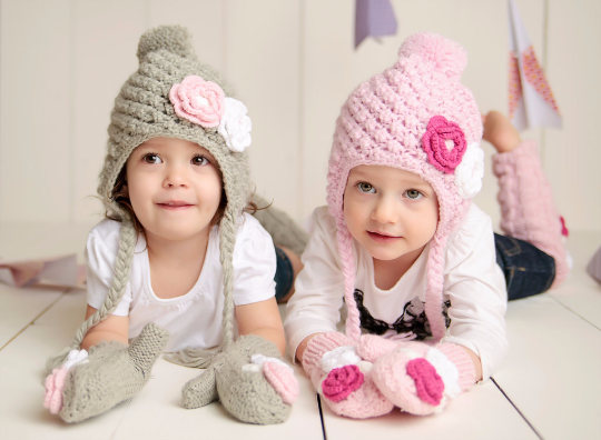 be7f318588ca Set - Mitten and Hat Toddler Girl Winter Lined Snowbunny Hat