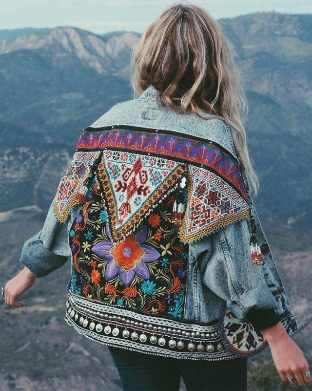 Veste en jean bohème brodée  Bohemian embroidered denim… #hippie