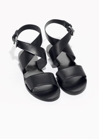 0c37ed4b0   Other Stories image 2 of Cross-Strap Leather Sandal in Black ...