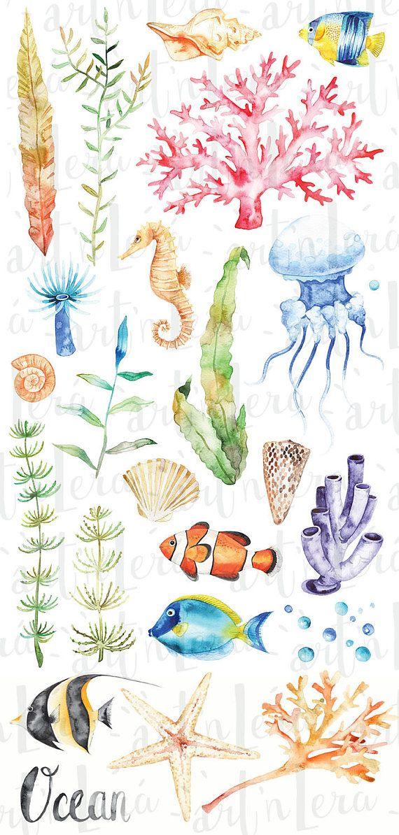 Watercolor Ocean Set Clipart Anemones Coral Tropical Fish