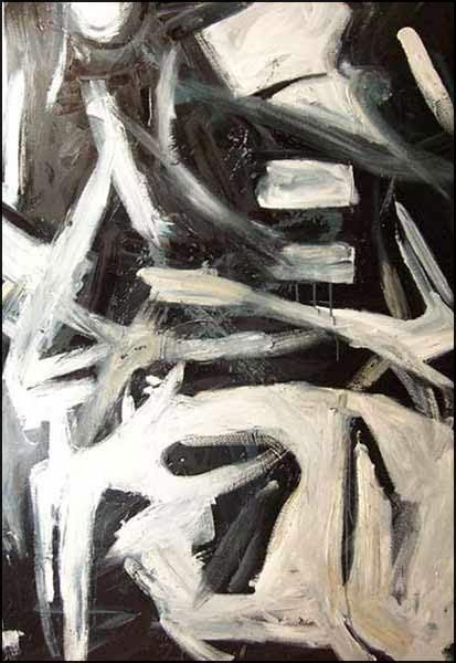 Black and white abstract art arrival 2 by michigan artist james homer brown