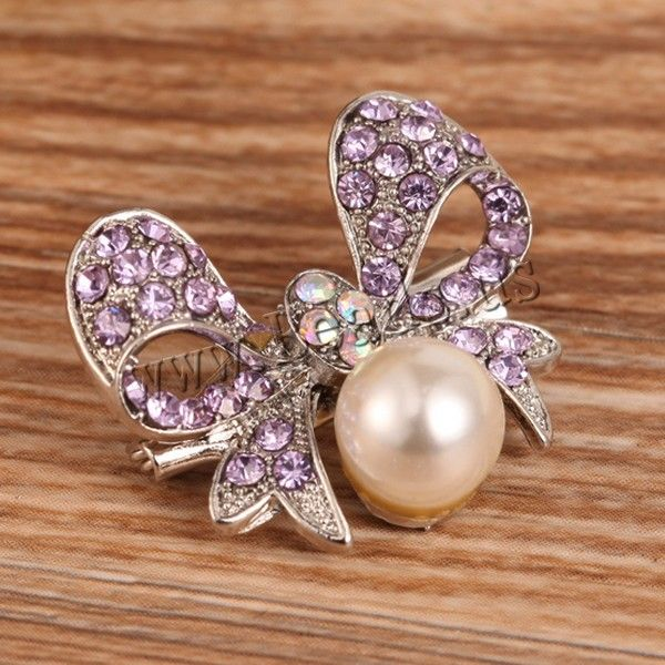 Glass Pearl Brooch, Zinc Alloy, with Glass Pearl, Bowknot, platinum color plated, with rhinestone, nickel, lead & cadmium free, 20mm, 10PCs/Lot,china wholesale jewelry beads