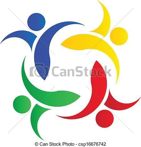vector teamwork colorful people logo stock illustration royalty rh pinterest com