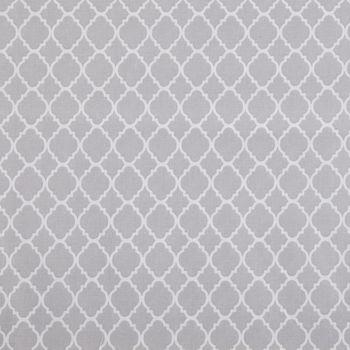 Gray Mini Quatrefoil Cotton Calico Fabric