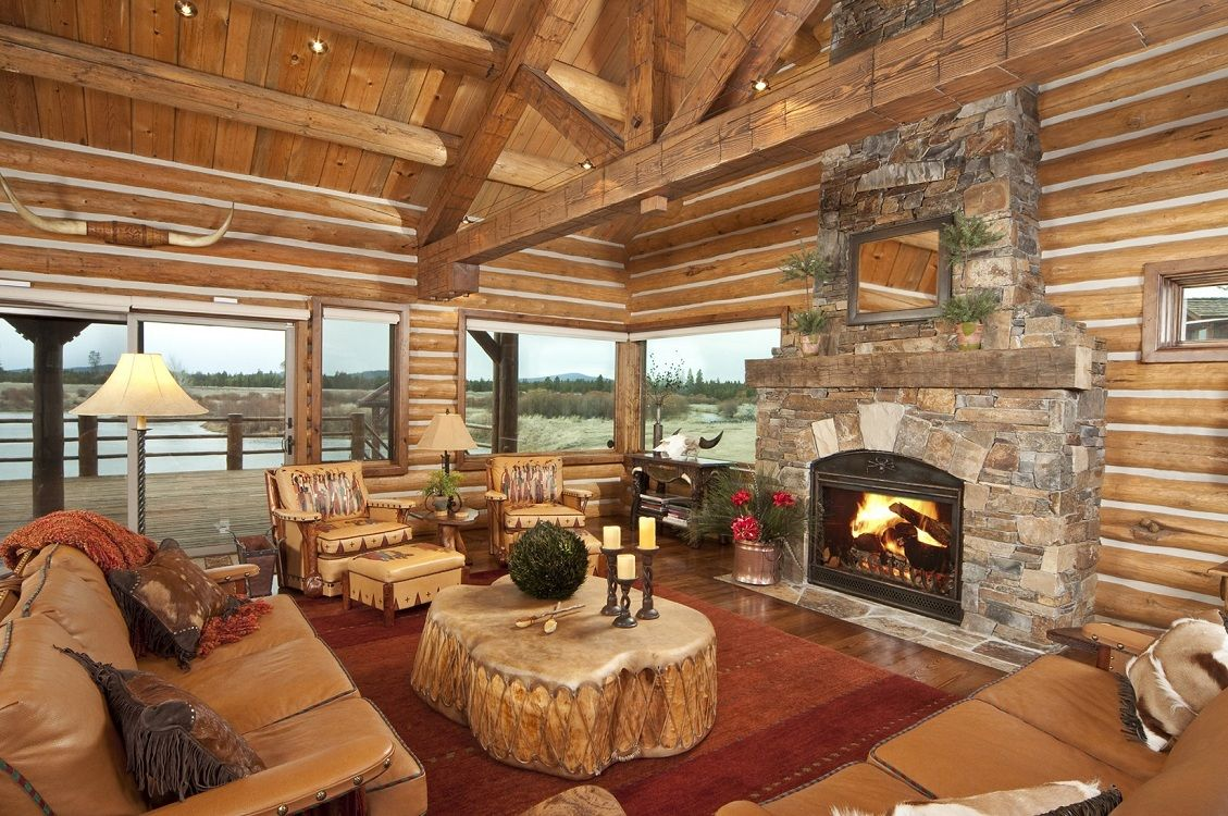 log cabin living room decorating ideas with
