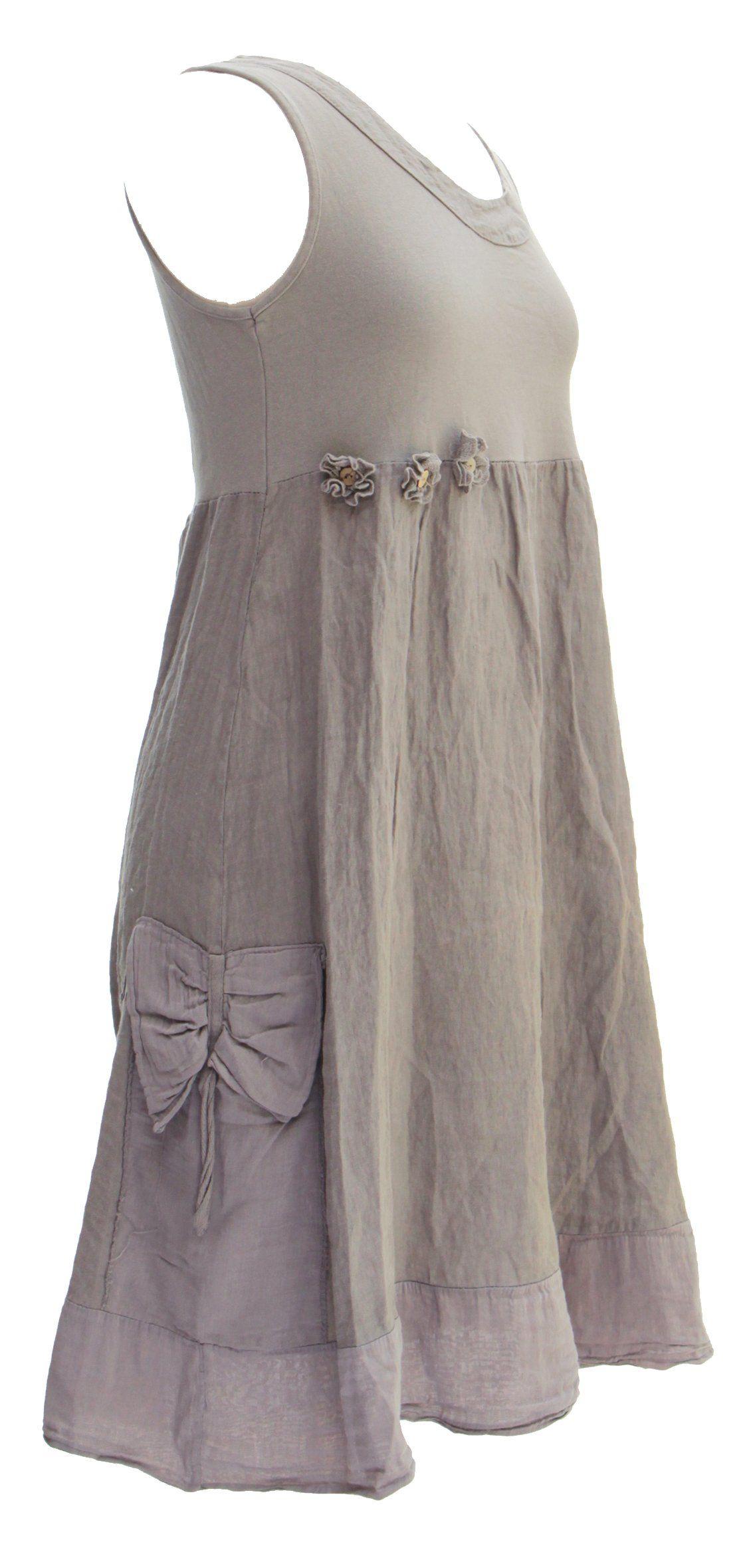 Ladies Womens Italian Lagenlook Quirky 3 Flower Linen Tunic Dress ...
