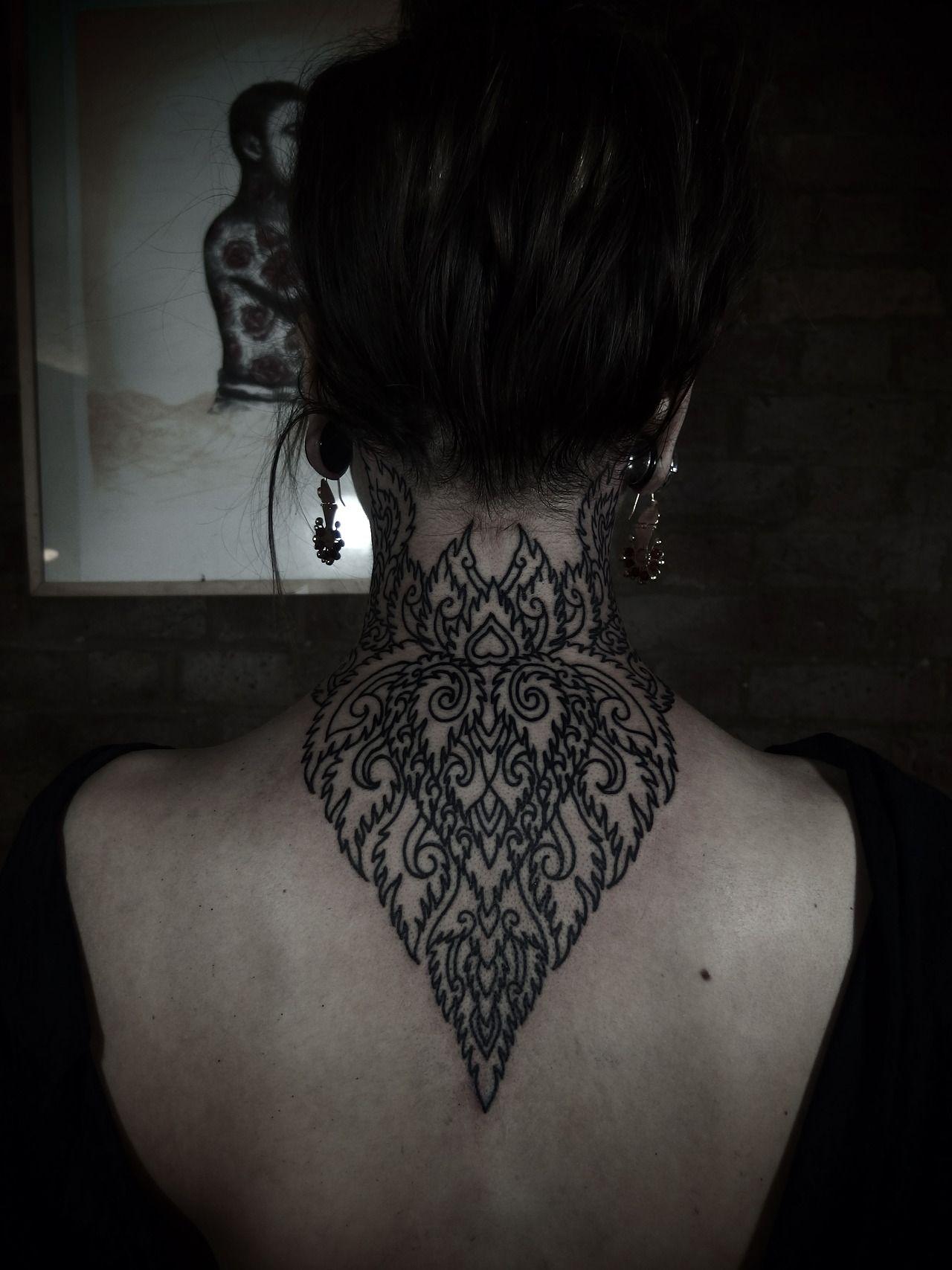 72e61738d48d9 Back of the neck design | That ink | Tribal tattoos, Back of neck ...