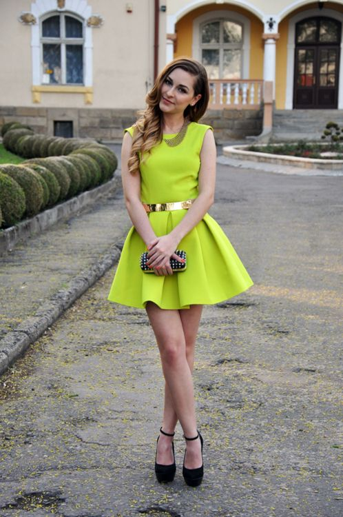 Neon yellow dress for girl.