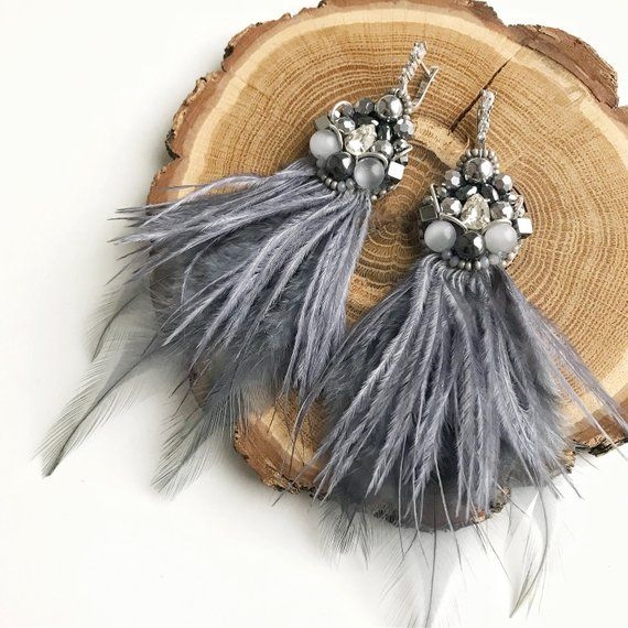 Photo of Grey long natural ostrich feather earrings Luxury beaded jewellery Natural stone jewelry Dangle woman fashion earrings Tassel earrings