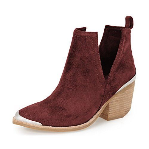 YDN Wine Red Ankle Boots for Women - #YDN #ankle #boots