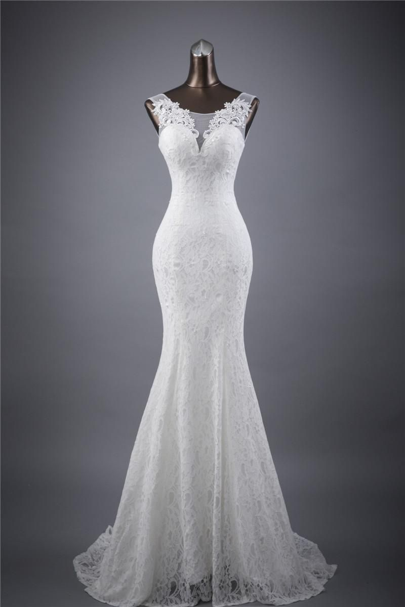 Sexy White Lace Mermaid Brautkleid Hochzeitskleid 34 36 38 40 42+ + ...