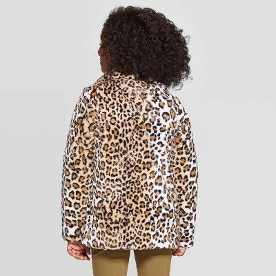 Girls Animal Print Faux Fur Jacket Cat Jack Black M Girl S