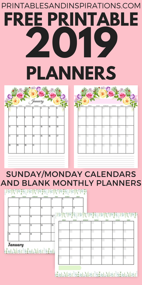 Free 2019 Planner Printable Pdf With Sunday And Monday Calendar