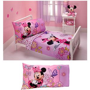 Disney Minnie Mouse Flower Garden 4Pc Toddler Bedding Set And 2Pc Awesome Toddler Bedroom Set Design Decoration