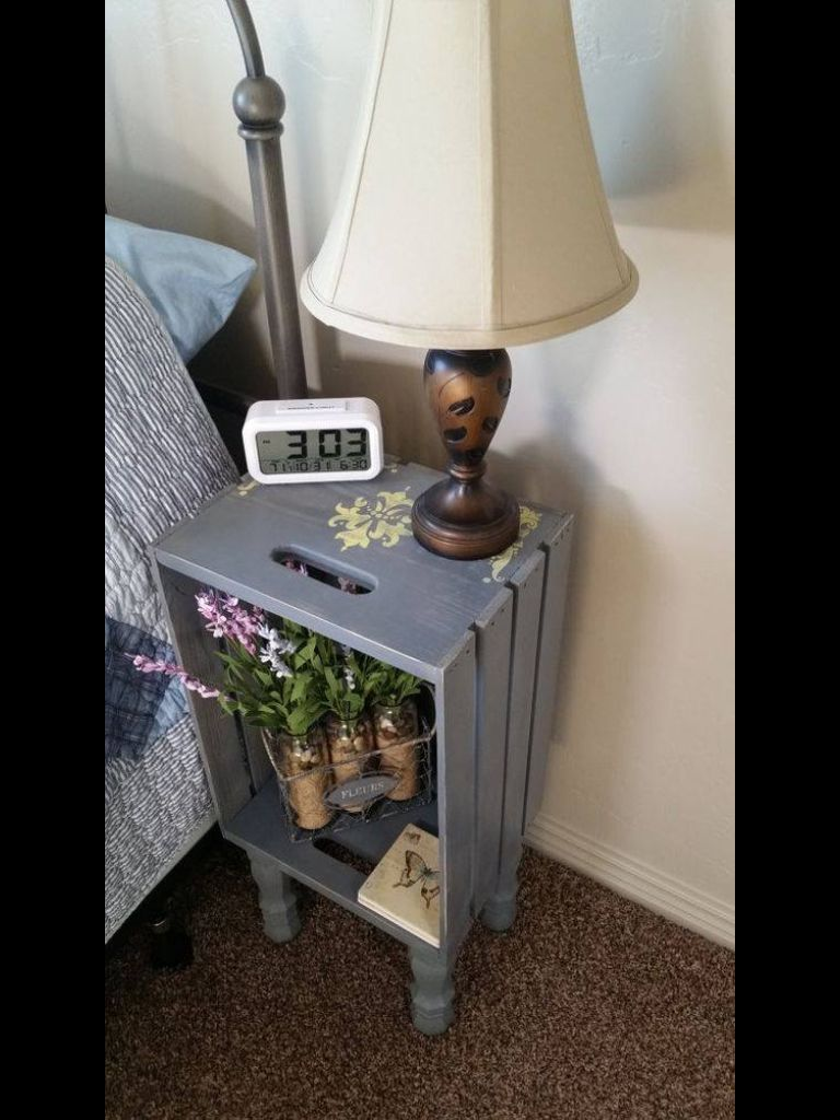 Cool Idea Wooden Crates Nightstand Crate Nightstand Home Diy