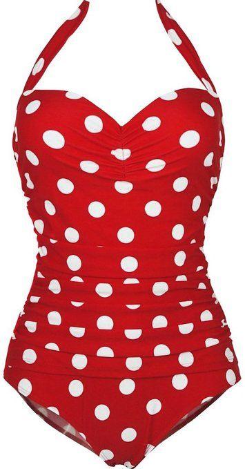 TDOLAH Retro Vintage Cherry & Anchor Print One Piece Swimsuit Pin Up Monokinis Black Tankini Swimwear: Amazon.co.uk: Clothing