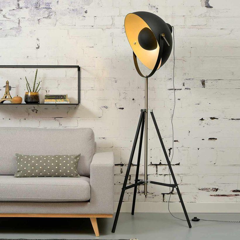 Lampadaire sur pied Tripod métal gris et noir design