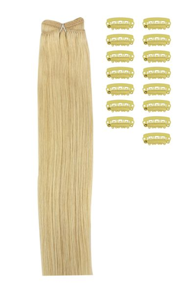 18 Inch DIY Remy Clip in Human Hair Extensions - Light Ash Blonde (#22) #lightashblonde
