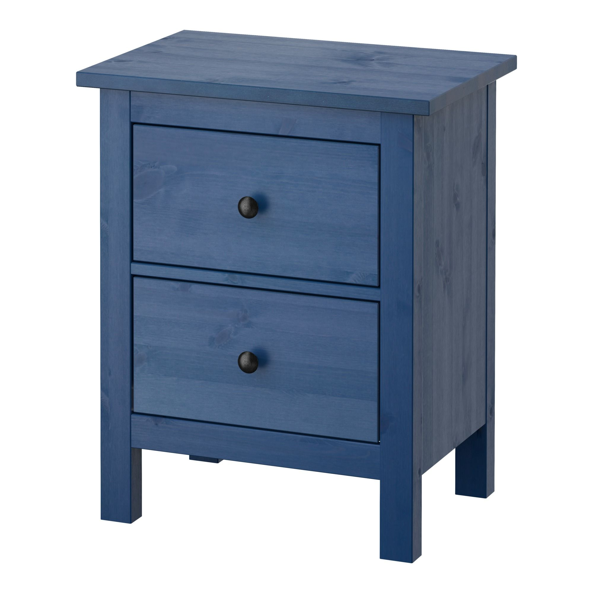 ikea - hemnes, 2-drawer chest, blue, , made of solid wood, which is