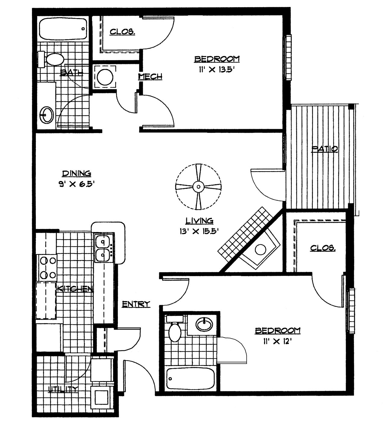 Small House Floor Plans 2 Bedrooms | Bedroom Floor Plan (download Printable  PDF.)