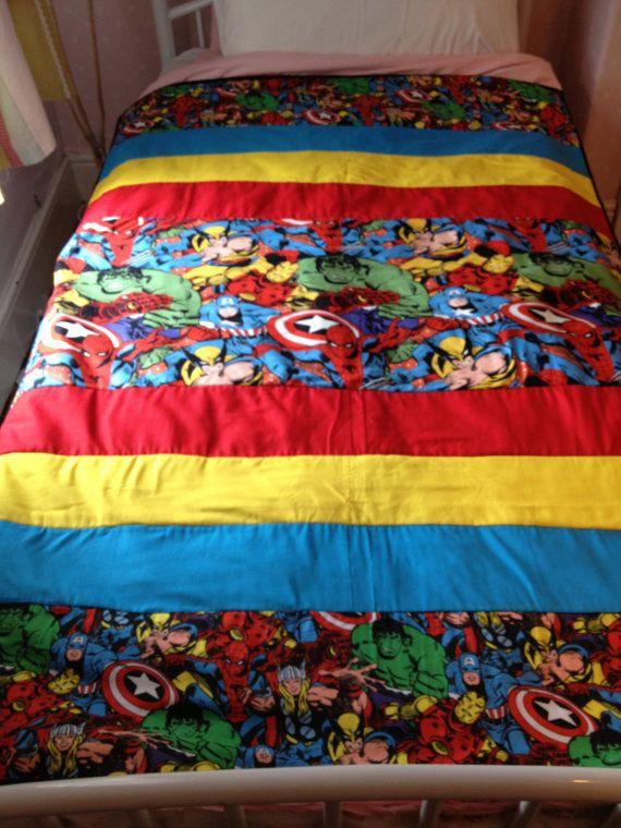 Marvel Superheroes Single Bed Blanket Quilt Bedspread On