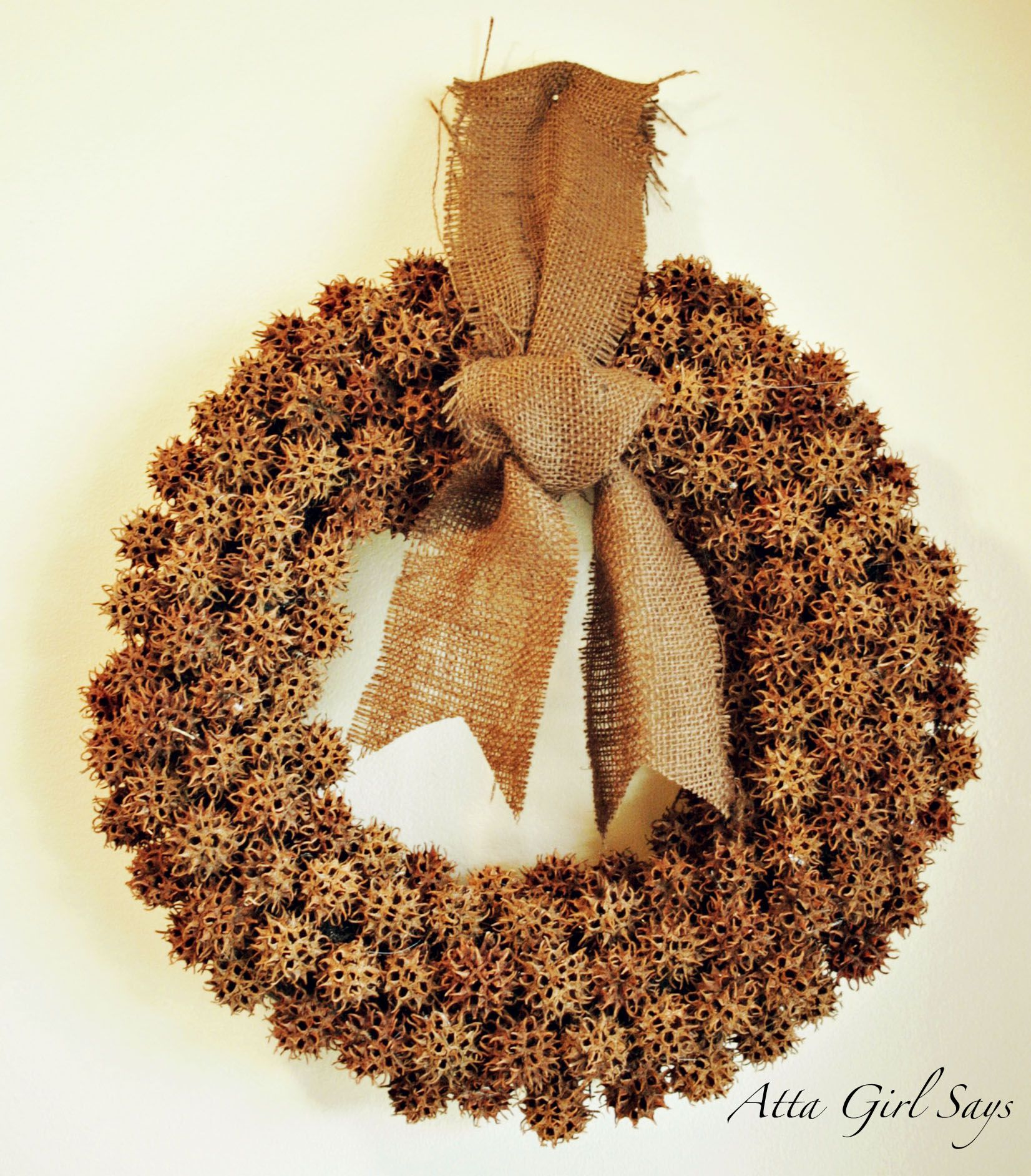 completed gumball wreath - might be able to put the 20 some sweet gum trees in my yard to use. :o)