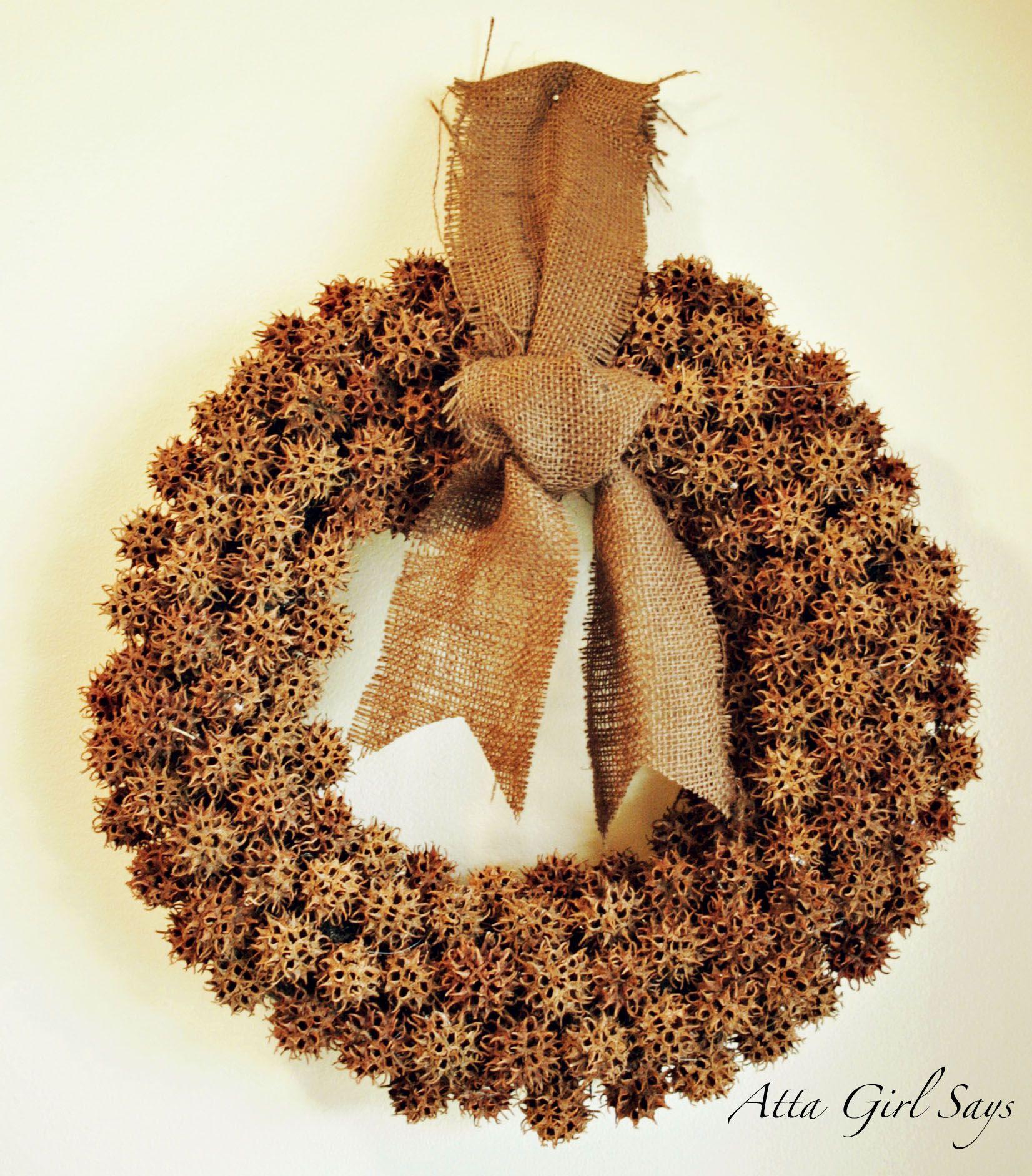 Sweet Gum Ball Wreath Tutorial Sweet Gum Tree Crafts Sweet Gum Ball Wreath