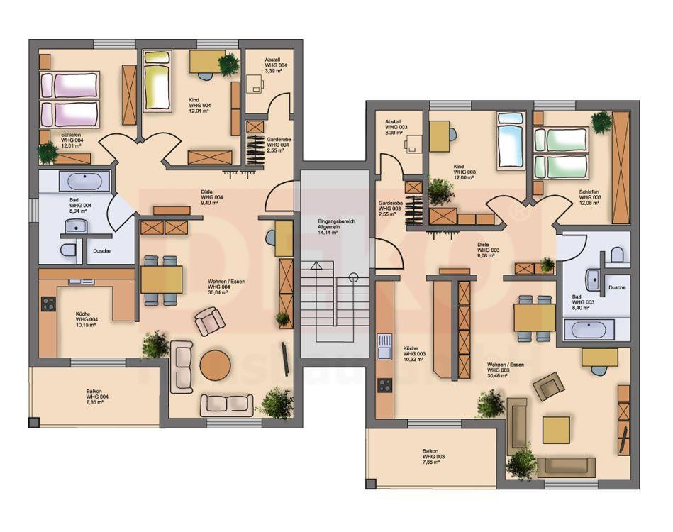 doppelhaus grundriss beispiele hausbau grundrisse mehrfamilienhaus - Mehrfamilienhaus Grundriss Beispiele