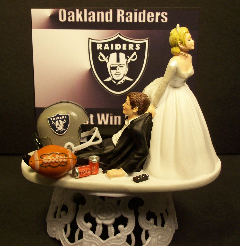 Oakland Raiders Football Wedding Cake Topper Bride And