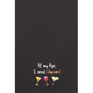 "At My Age I Need Glasses! Wine Glass Waffle Kitchen Towel 18"" x 27"""