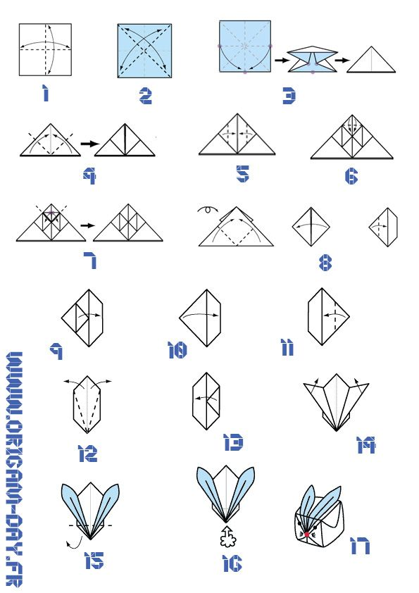 Origami Day Diagramme Lapin Gonflable Origami Day Chaque Jour Son Origami Lapin Origami Origami Facile Origami