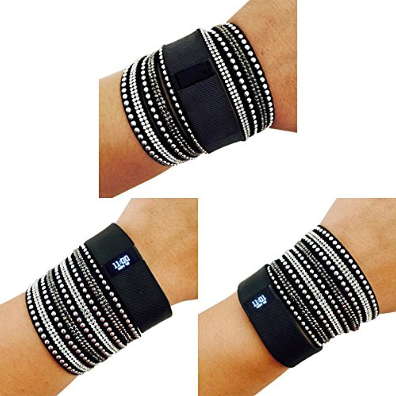 fbb0eb0a4940 Activity Tracker Bracelet for Fitbit Charge and Other Fitness Trackers -  The S M TINLEY Rhinestone Studded Snap Fitbi -- Be sure to check out this  awesome ...