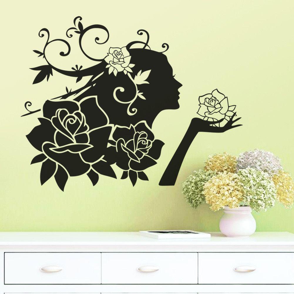Creative Beauty Flower Fairy Vinyl Character Wall Decal Sticker ...