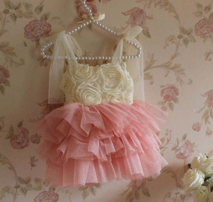 Sparkle Rosette Tutu Dress Baby Girl Wedding Dress Coral Flower Girl Dresses Ivory Flower Girl Dresses