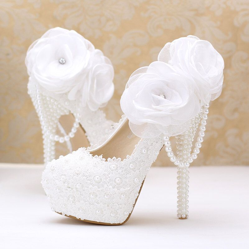Stylish Womens Beautiful Bride Lace Wedding Shoes Bridal Shoes By Blingqueenau On Etsy Https Wedding Shoes Lace Flower Wedding Shoes Wedding Shoes High Heels