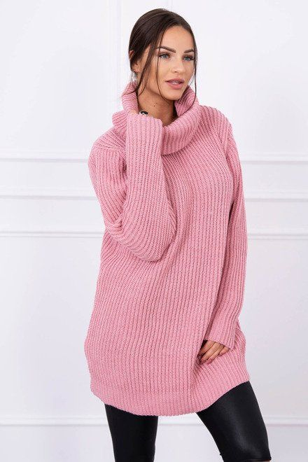 Sveter šaty s rolákom ružové  a69d546e52a