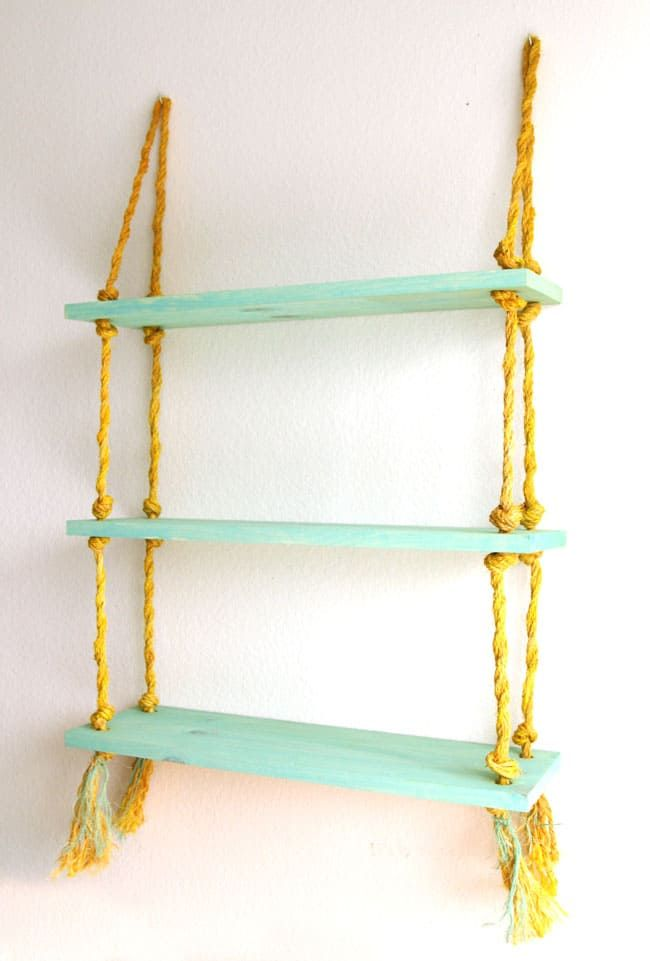 Diy Rope Shelf All I Need Is A Drill Diy Hanging Shelves Rope