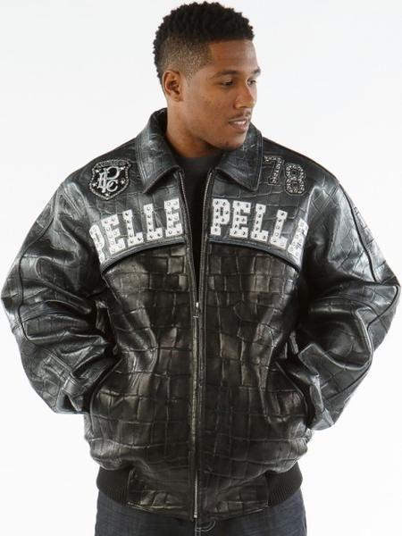 29759fd7ab Pelle Pelle Men`s Black Croc Studded Bomber Jacket | Pelle Pelle ...