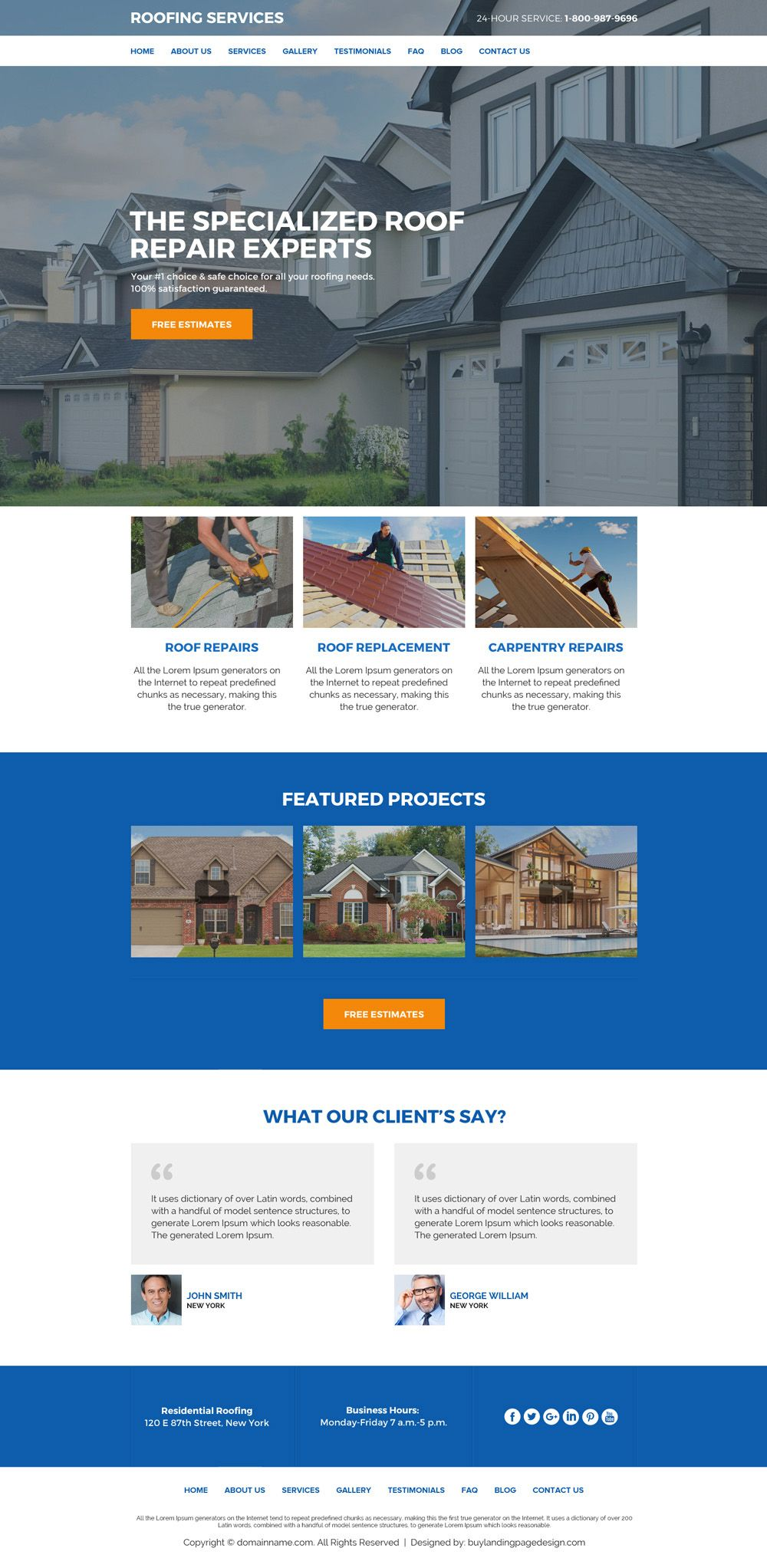 Commercial And Residential Roofing Service Website Designs Roofing Services Roofing Website Design
