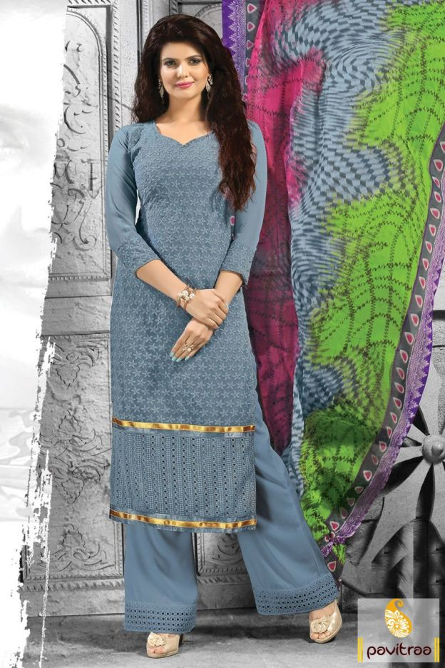 Bring the simple yet trendy looking casual wear grey plazma salwar suit with embroidery. It is good-looking with sparkling golden lace and comfortable plazo.  #salwarsuit,#salwarkameez, #dailywearsalwar, #printedsalwarsuit, #plazosuit, #cottondress, #casualdress