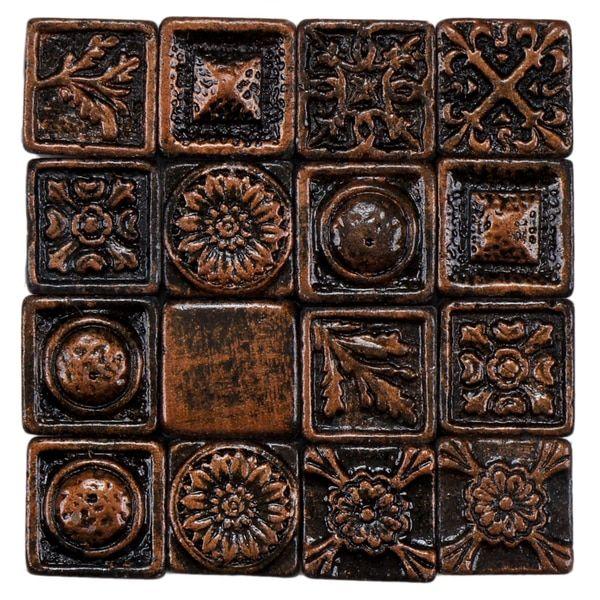 Rococo Decorative Wall Tile Somertile 1X1Inch Rococo Square Copper Metallic Resin Wall