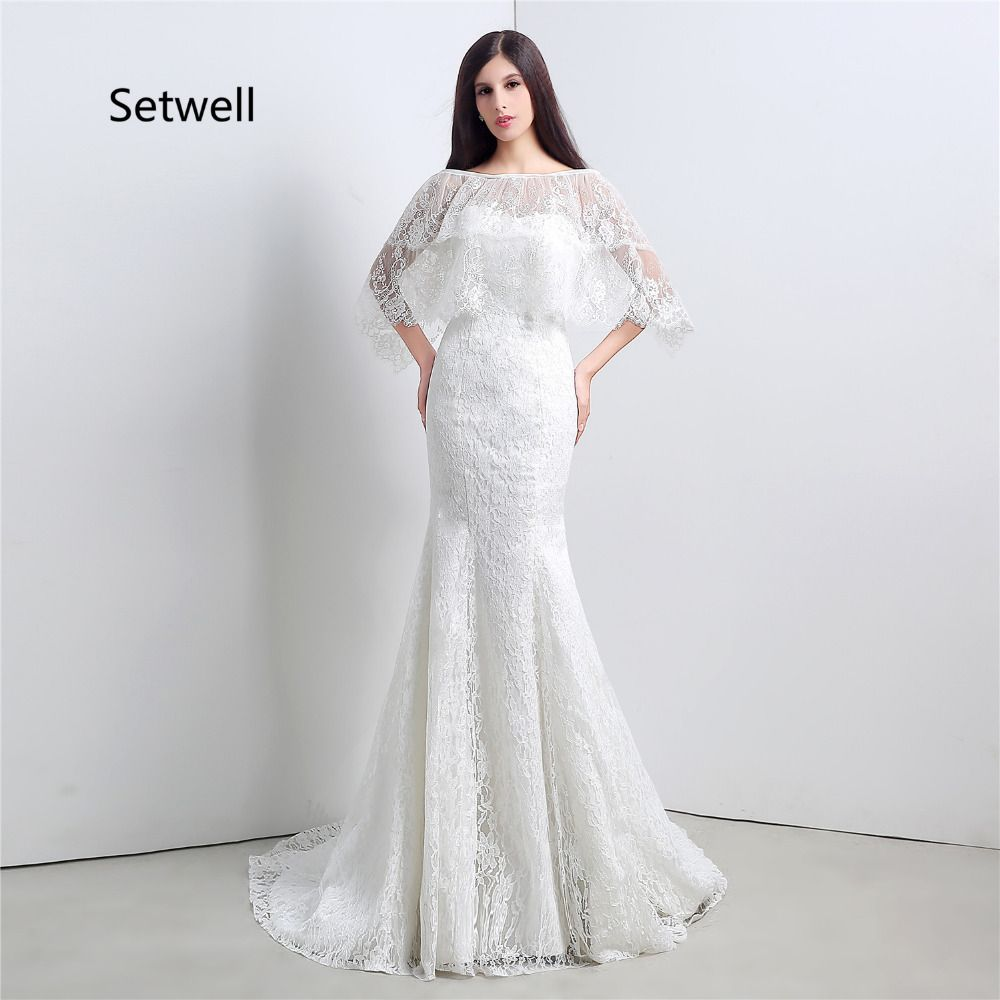 Lace dress with cape  Click to Buy ucuc Setwell White Full Lace Wedding Dresses With Cape