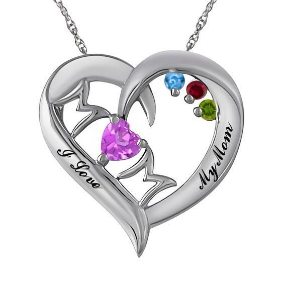 Zales Birthstone Mom Heart Necklace (2-6 Stones and 2 Lines) G1JIt