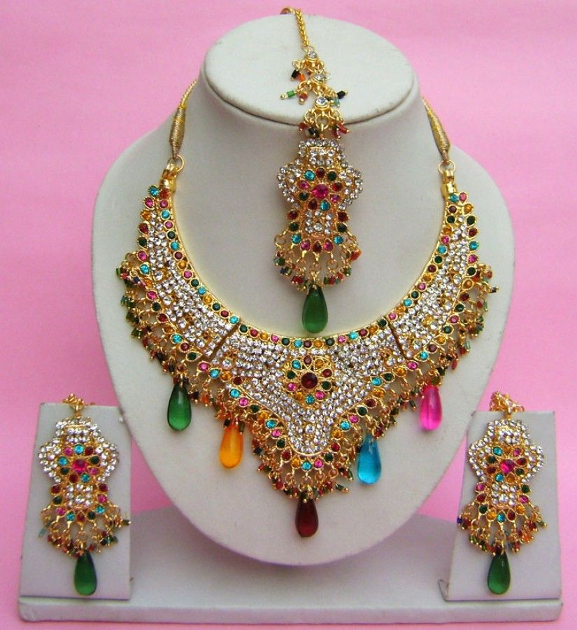 N27895 Semi Bridal Artificial Jewellery Necklace Set with Tika ...