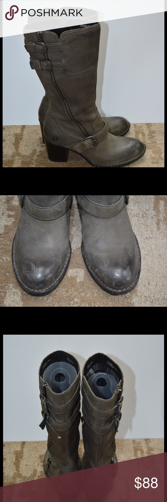 """Gray Born tall boots size 9.5 Excellent condition.  Gray distressed with side buckle accents. 3"""" heel, boot height is 15"""", circumference at top of boot is 16"""". Born Shoes Heeled Boots"""